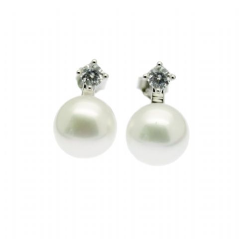 Pearl Earrings with CZ Stud Sterling Silver